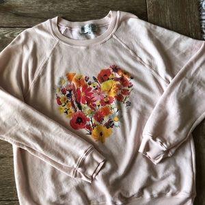 Wildfox Blooming Hearts Sweatshirt, Size Medium